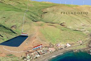 Recreación por ordenador del proyecto de generación de energía hidroeólica para El Hierro./ ITC