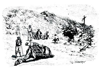 Ilustración del libro de Verneau 'Cinco años de estancia en Canarias' (1891), que representa el descanso de un comitiva en Fuerteventura con un muerto atado a la silla de un camello./ EL MUSEO CANARIO