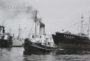 El 'España II' maniobra entre barcos pesqueros japoneses que tenían su base en el puerto de la La Luz, en los años 70.