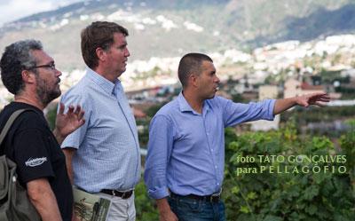 Carlos Cólogan (en el centro) acude a la entrevista a la finca La Araucaria de Bodegas Tajinaste. Con el, Yuri Millares (izq.) y Agustín García Farrais.