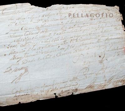 El papel más antiguo que se conserva en los archivos es de 1720.  y. m.