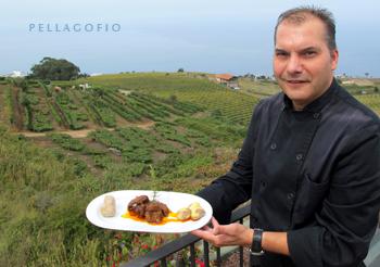 El chef Moisés Rodríguez, rodeado por los viñedos de la finca La Hollera, con el conejo en salmorejo. | FOTO YURI MILLARES