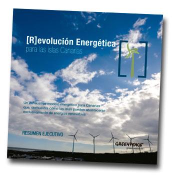 Portada del folleto resumen con las propuestas de Greenpeace para una Canarias 100% sostenible energéticamente.