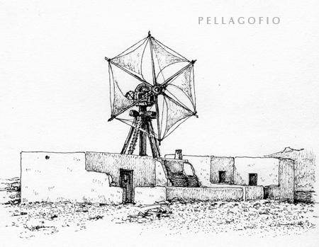 Molina de viento de Casleta del Sebo, en la isla de La Graciosa. | DIBUJO DE SANTIAGO ALEMÁN (LA ARQUITECTURA TRADICIONAL DE CANARIAS)