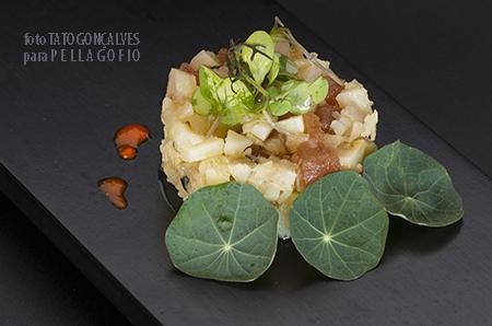 Tartar de queso de cabra curado y vieja jareada, preparado por Luis León para e libro 'Quesos imprescindibles de Canarias'.| FOTO TATO GONÇALVES