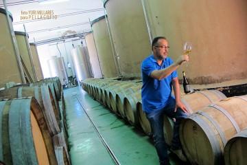 El enólogo Carlos Lozano entre los depósitos de cemento originales de la bodega, que se construyó en 1947 en Fuencaliente. | FOTO Y. MILLARES