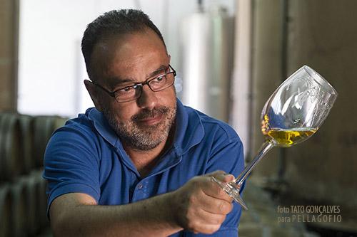 Carlos Lozano con una copa del vino Los Tabaqueros, de la serie Llanos Negros.   FOTO T. GONÇALVES