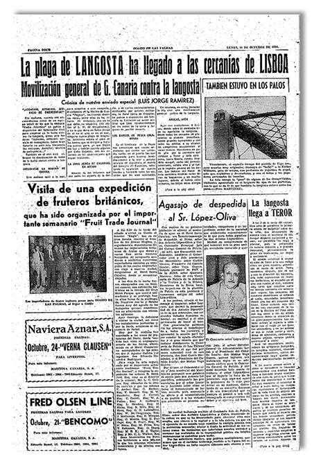 Página de 'Diario de Las Palmas' del 18 de octubre de 1954 informando de la plaga de langosta sobre Gran Canaria con foto de una de las porterías de, Estadio Insular durante el partido UD Las Palmas-Athletic de Bilbao. | ARCHIVO LA PROVINCIA/DIARIO DE LAS PALMAS