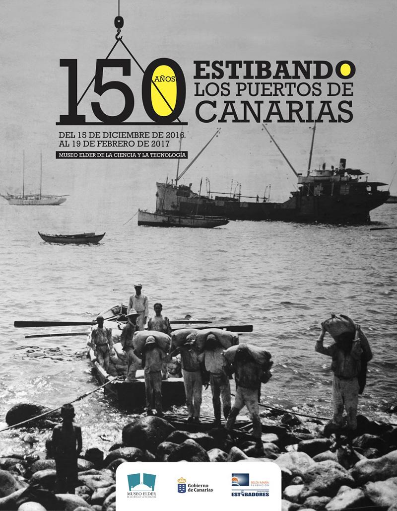 """Cartel de la exposición """"150 años estibando en Canarias""""."""