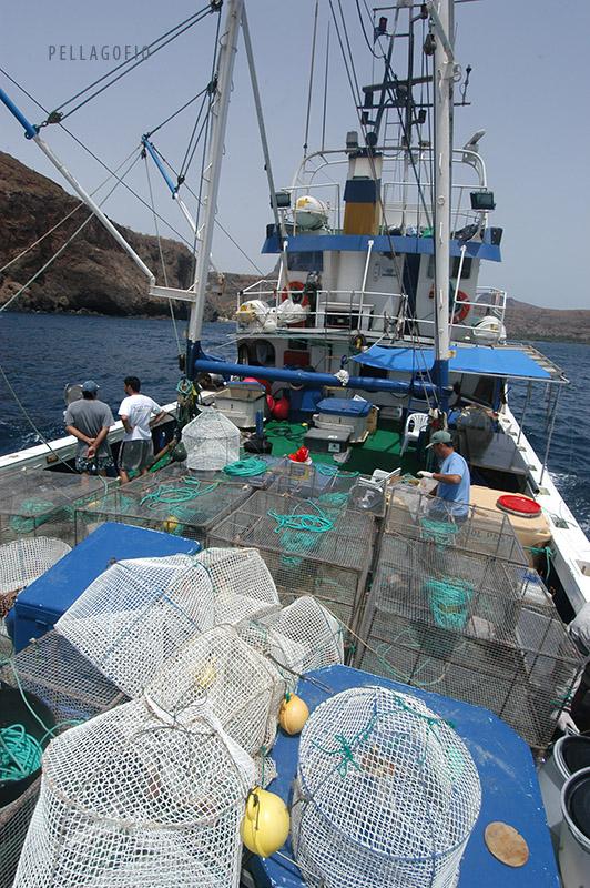 Nasas en la cubierta del buque oceanográfico 'Pixape II'. |  FOTO ARCHIVO PELLAGOFIO