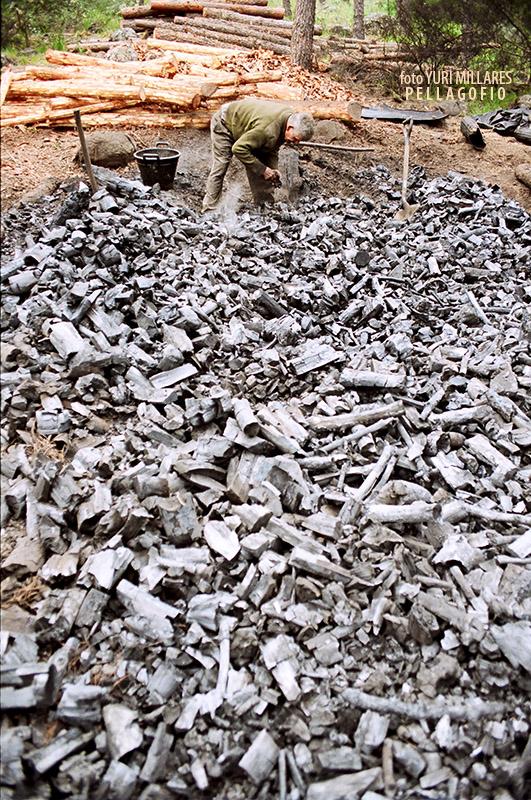 3. Con el carbón cocinado, Nardo desbarata la hoya y lo enfría salpicándolo con una brocha de pintor que va mojando en agua. | FOTO YURI MILLARES